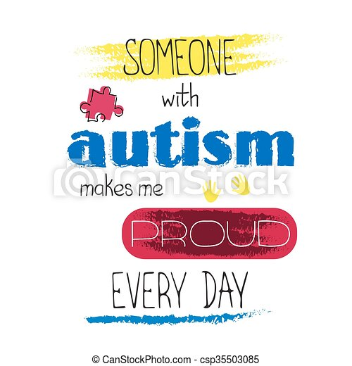 Autism awareness lettering - csp35503085