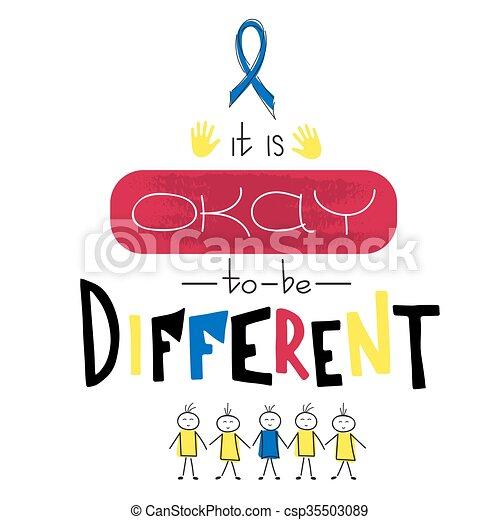 Autism awareness lettering - csp35503089