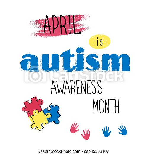 Autism awareness lettering - csp35503107