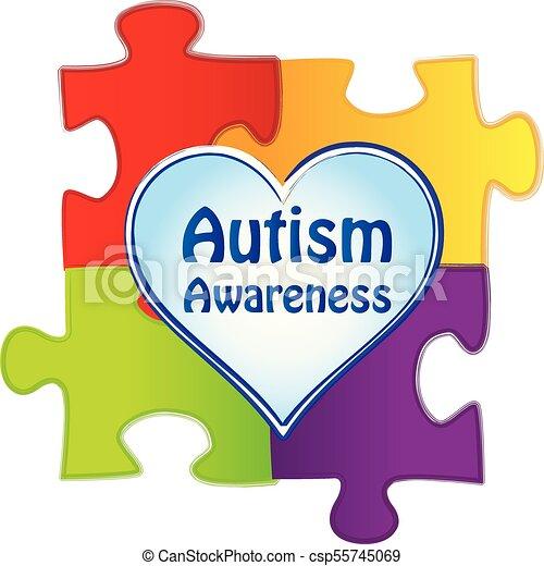 Autism Awareness Logo with Puzzle Pieces - csp55745069