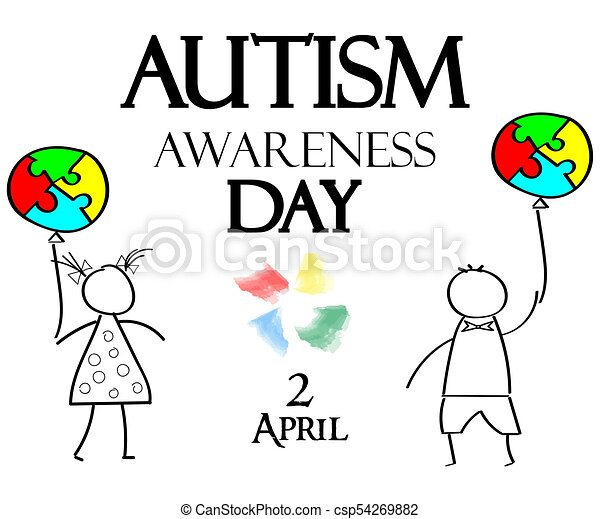 Autism Awareness Month. Multicolored puzzle in the form balloons - csp54269882