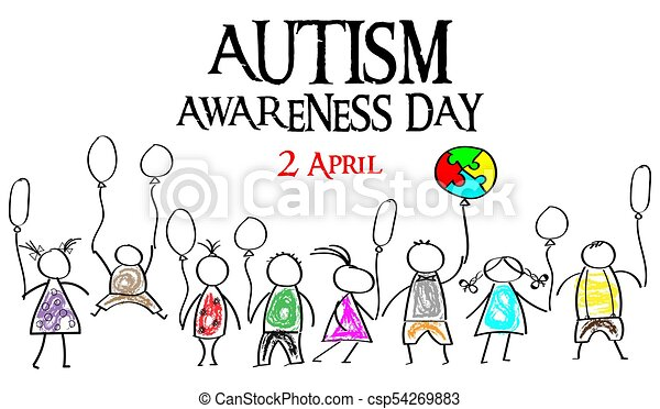 Autism Awareness Month. Multicolored puzzle in the form balloons. Doodle kids with balloons. - csp54269883