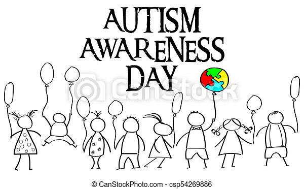 Autism Awareness Month. Multicolored puzzle in the form balloons - csp54269886