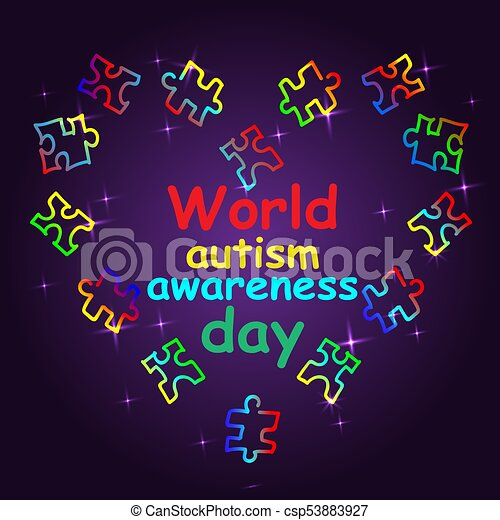 Autism Awareness Month. Trend lettering. Multi colored puzzle in - csp53883927