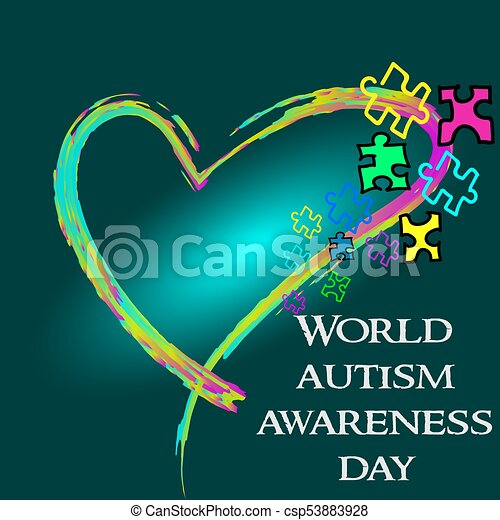 Autism Awareness Month. Trend lettering. Multi colored puzzle in - csp53883928