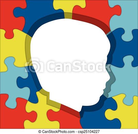 Autism Awareness Puzzle Silhouette Illustration - csp25104227