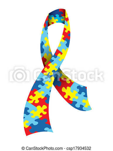 a vector illustration of an autism awareness ribbon made with a rh canstockphoto com autism awareness ribbon clipart autism awareness clipart