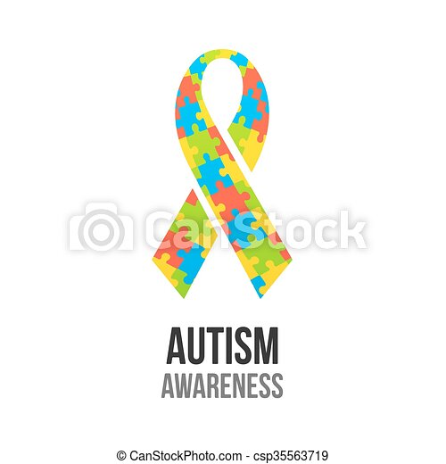 Autism Awareness Ribbon With Jigsaw Puzzle Pattern Colorful