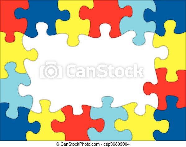 Autism Colored Puzzle Frame Illustration - csp36803004