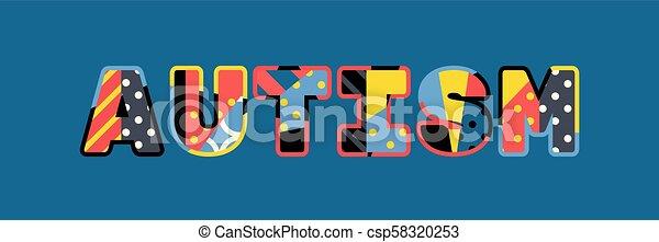 Autism Concept Word Art Illustration - csp58320253