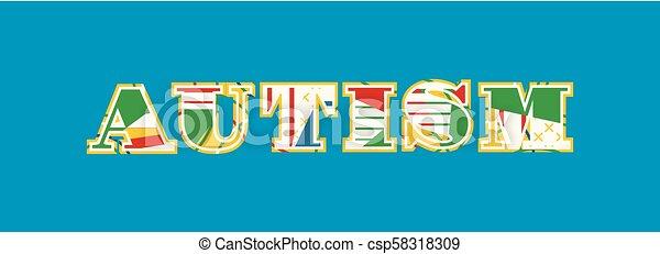 Autism Concept Word Art Illustration - csp58318309
