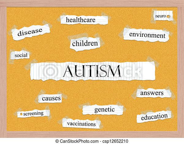 Autism Corkboard Word Concept - csp12652210