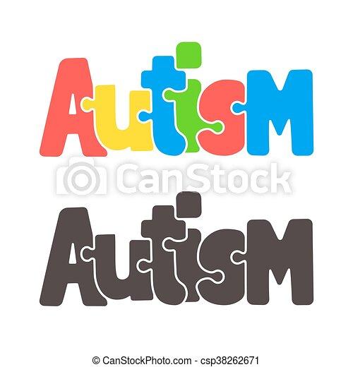 Autism jigsaw puzzle text - csp38262671