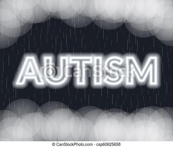 Autism neon lettering. Sad mood. Vector illustration - csp60625658