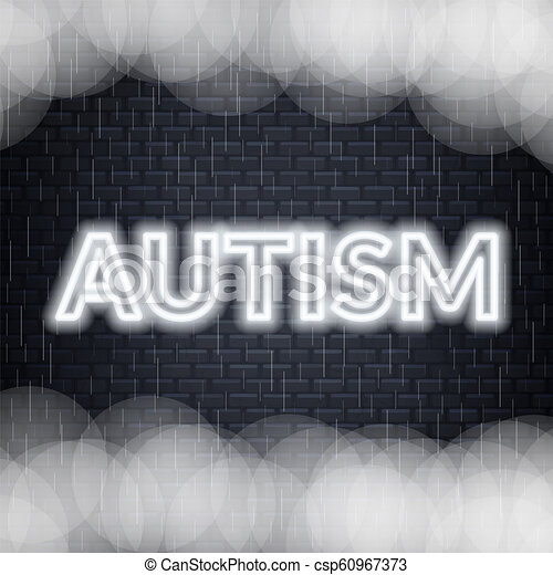 Autism neon lettering. Sad mood. Vector illustration - csp60967373