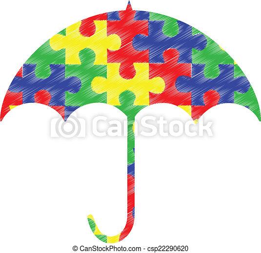 autism pieces umbrella autism spectrum umbrella with puzzle piece