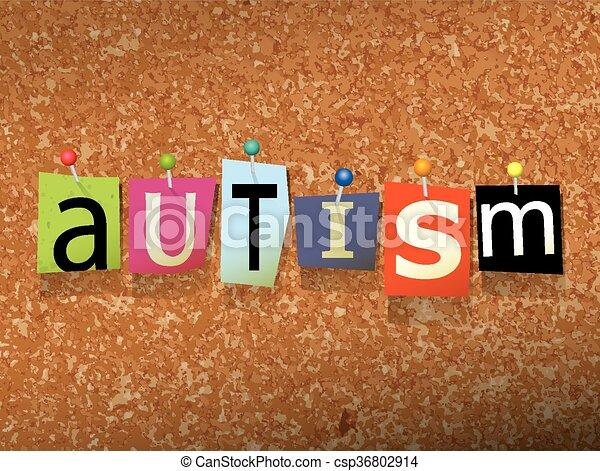 Autism Pinned Paper Concept Illustration - csp36802914