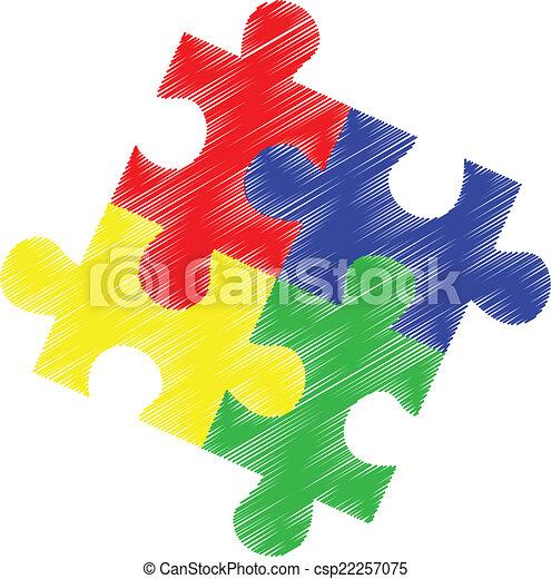 Autism puzzle pieces - csp22257075