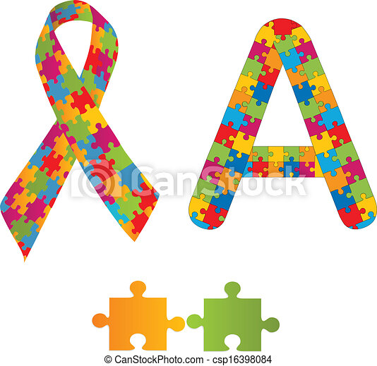 autism symbols autism awareness ribbon and letter a as vector rh canstockphoto com  autism awareness day clipart