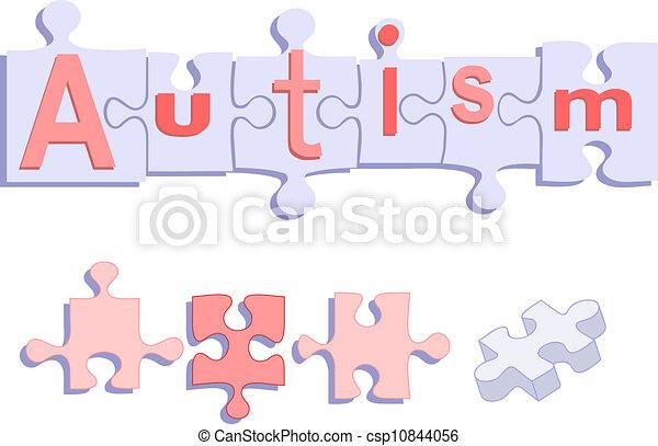 Autism TITLE on Puzzle Pieces - csp10844056