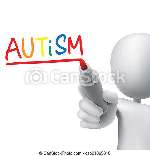autism word written by 3d man - csp21865810