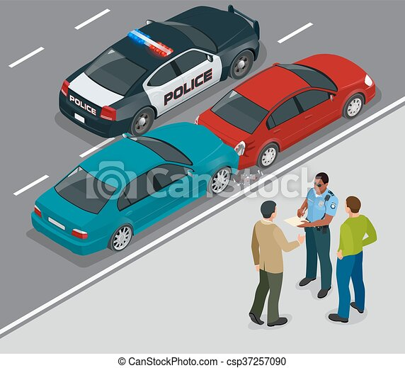 Auto accident involving two cars on a city street. Traffic policeman in car accident scene. Two Drivers Arguing After Traffic Collision. Flat 3d vector isometric illustration - csp37257090