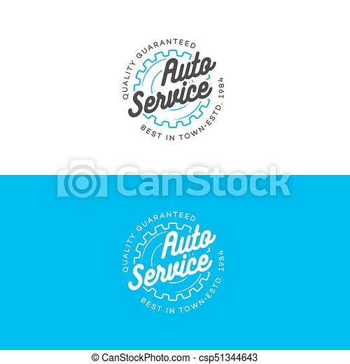 Auto Auto Service Logo Set With Gear Line Style Isolated On