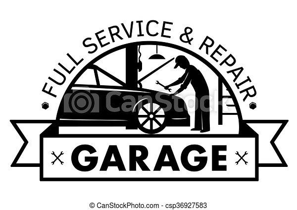 Auto center, garage service and repair logo,Vector Template. - csp36927583