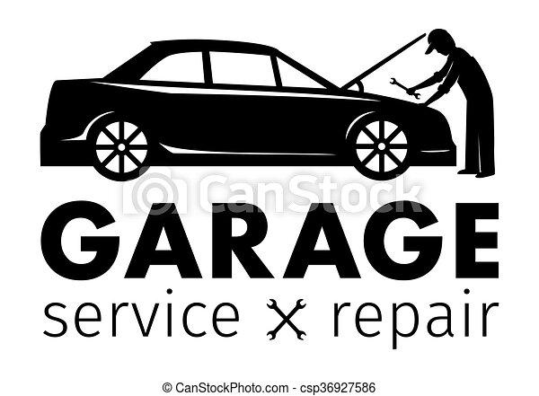 Auto center, garage service and repair logo,Vector Template. - csp36927586