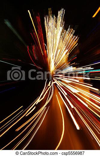 auto, effect, zoom, motie, lichten, verdoezelen - csp5556987