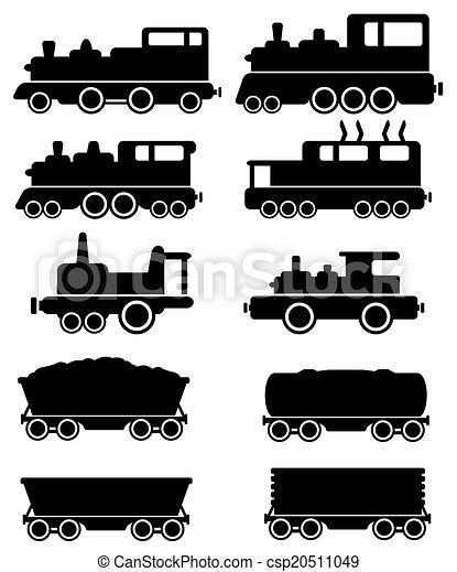 Auto, eisenbahn, elektrische eisenbahn. Satz, silhouette,... EPS ...