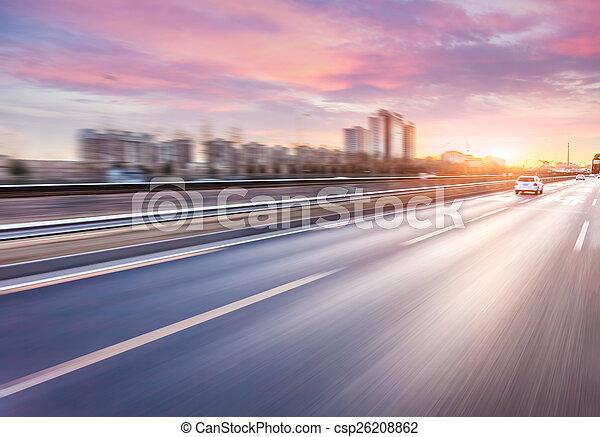 auto-estrada, dirigindo, car, borrão moção, pôr do sol - csp26208862