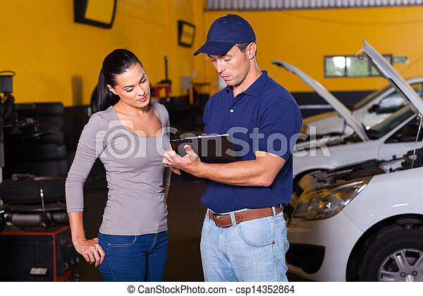 auto, frau, werkstatt, junger, mechaniker - csp14352864