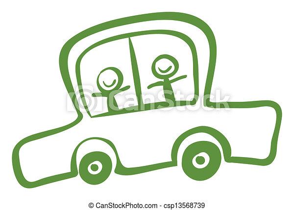 auto, geitjes, groene, twee, paardrijden - csp13568739