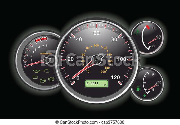Armaturenbrett auto  Auto, geschwindigkeitsmesser, armaturenbrett. Vektor, alles ...