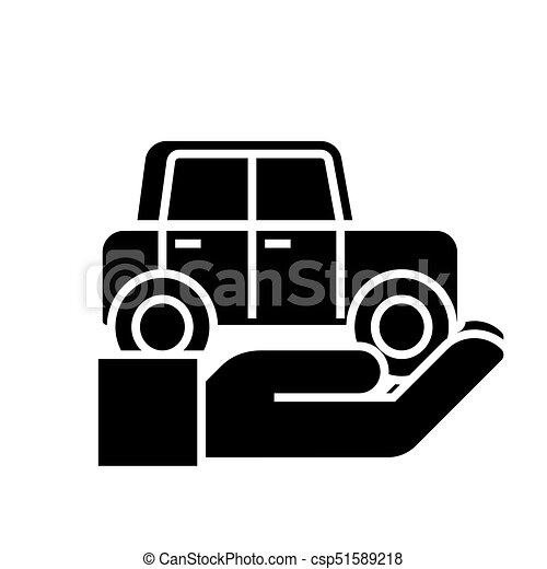 auto insurance car in hand icon vector illustration black sign on isolated background