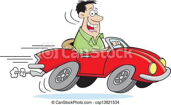 auto, karikatur, fahren, mann - csp13821534