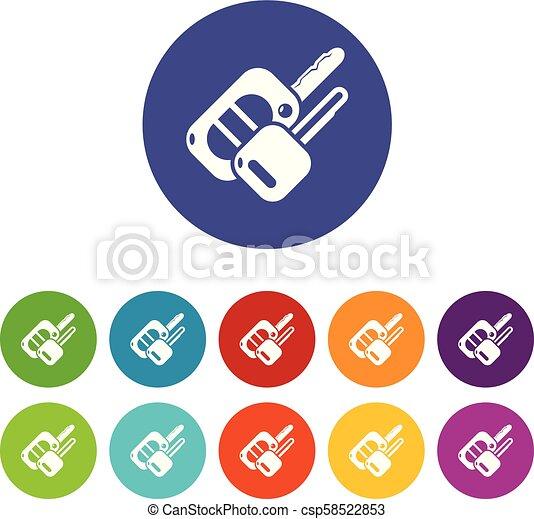 Auto key icons set vector color - csp58522853