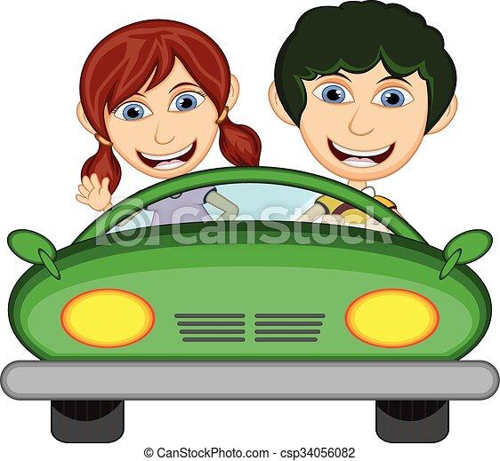 auto kinder fahren karikatur fahren auto abbildung. Black Bedroom Furniture Sets. Home Design Ideas