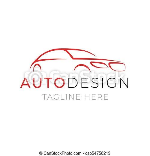 Auto Logo Template Car Service Or Dealer Shop Icon Design With Line