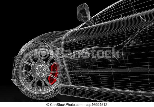 Auto, masche, schwarz, 3d. Blaupause, geleistet, auto, bild ...