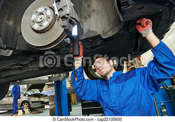 auto mechanic at car brake shoes eximining - csp22105930