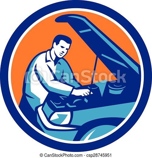 Auto Mechanic Car Repair Circle Retro - csp28745951