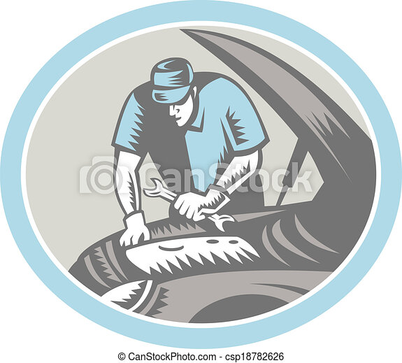 Auto Mechanic Car Repair Woodcut Retro - csp18782626