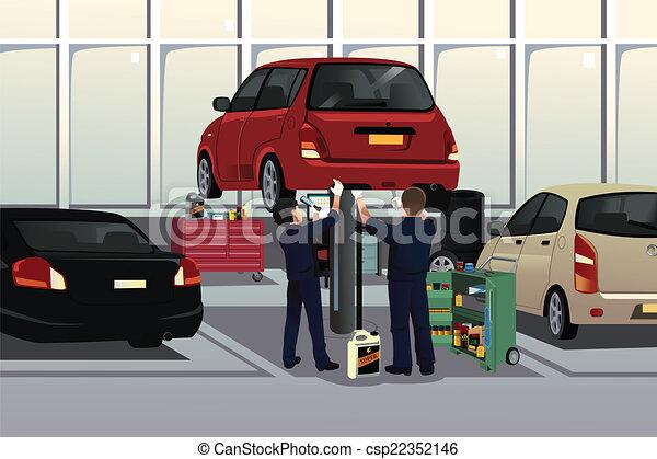 Auto mechanic fixing a car under the hood - csp22352146