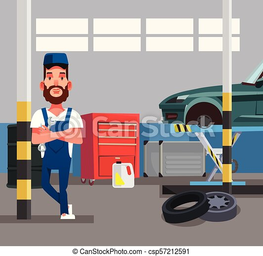 Auto Mechanic Man Worker Holding Wrench Car Repair