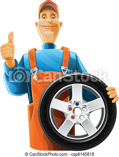 auto mechanic with wheel - csp6145818