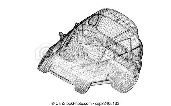 Auto, modell, 3d. Körperstruktur, auto, draht, modell.