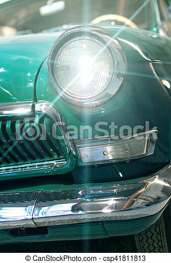 auto, nahaufnahme- ansicht, headlight., retro - csp41811813