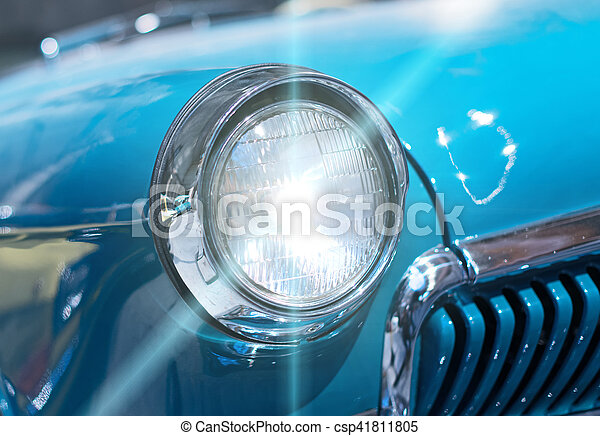 auto, nahaufnahme- ansicht, headlight., retro - csp41811805
